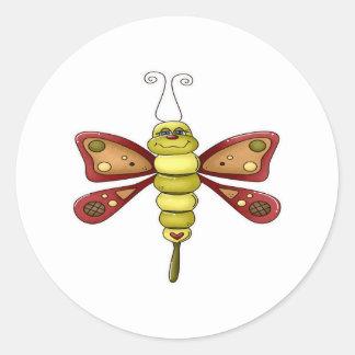 Mariposa del insecto del amor pegatina redonda