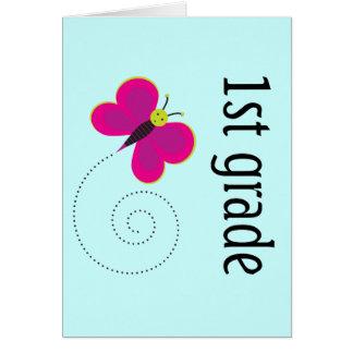 Mariposa del primer grado tarjeta de felicitación