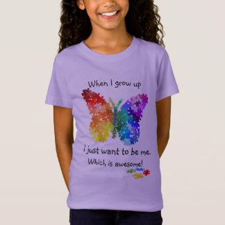 Mariposa del rompecabezas del autismo cuando camiseta