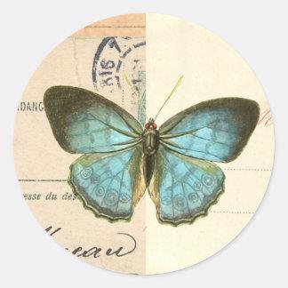 Mariposa del vintage en pegatina de moda hermoso