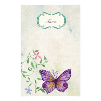Mariposa del vintage floral papelería