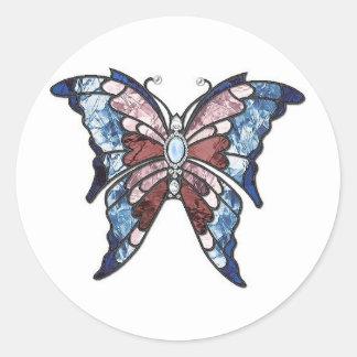 Mariposa del vitral pegatina redonda