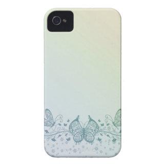 Mariposa delicada del verde azul de la aguamarina carcasa para iPhone 4 de Case-Mate
