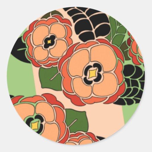 Mariposa en anaranjado y verde - pegatinas redondo etiqueta redonda