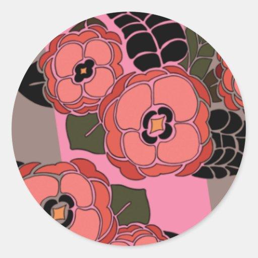 Mariposa en color de rosa y Brown - pegatinas redo Etiqueta Redonda