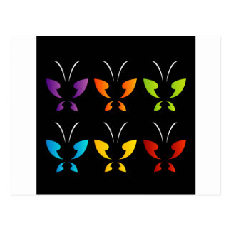 Mariposa en colores del arco iris postal