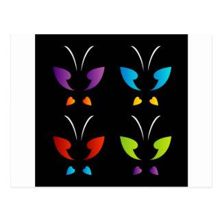 Mariposa en colores del arco iris tarjetas postales