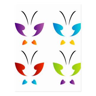 Mariposa en colores del arco iris tarjeta postal