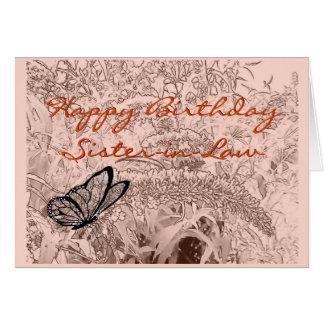 Mariposa en el bosquejo del lápiz del arbusto - tarjeta de felicitación