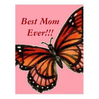 ¡Mariposa en el día de madre feliz rosado!!! Postal