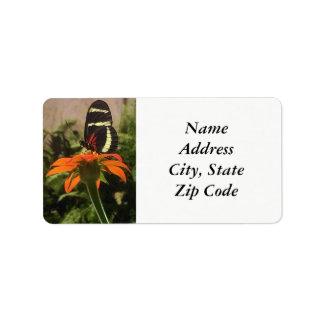 Mariposa en etiquetas de dirección de la flor