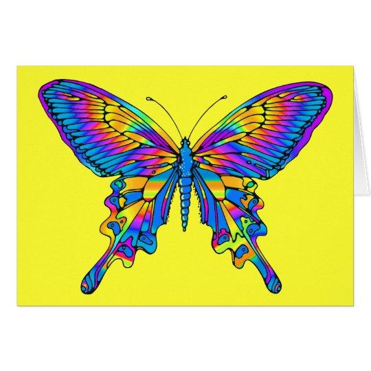 Mariposa en multicolor hermoso con el azul tarjeta pequeña