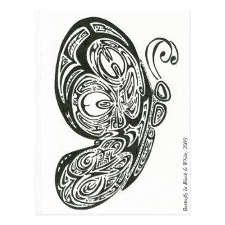 Mariposa en negro y blanco, 2009 postal