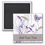 Mariposa en púrpura y gris imanes para frigoríficos