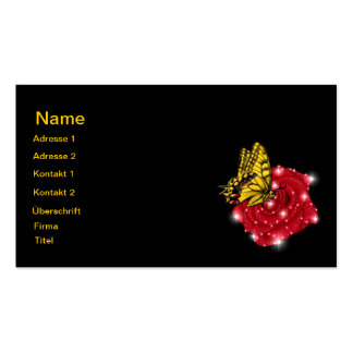 Mariposa en rosa roja m. sterne regentropfen tarjetas de visita