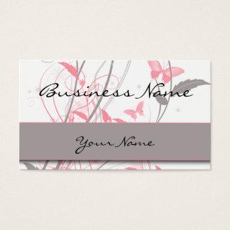 Mariposa en tarjeta de visita del rosa de la