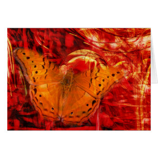 Mariposa en tarjeta horizontal del universo rojo