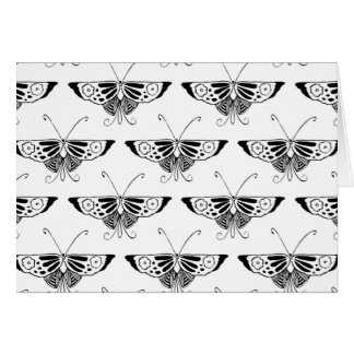 Mariposa estilizada de Deco - blanco y negro Tarjeta Pequeña