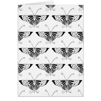 Mariposa estilizada de Deco - blanco y negro Tarjeta