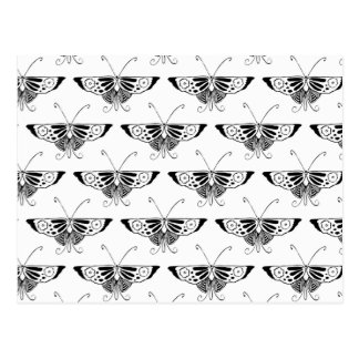 Mariposa estilizada de Deco - blanco y negro Postal
