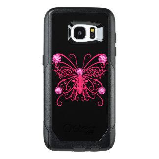 Mariposa femenina rosada Bling Funda OtterBox Para Samsung Galaxy S7 Edge