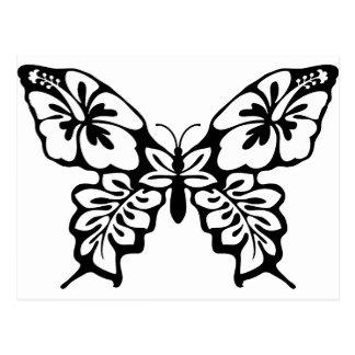 Mariposa floral blanco y negro postal