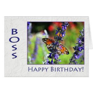 Mariposa floral de Boss del feliz cumpleaños Tarjetón