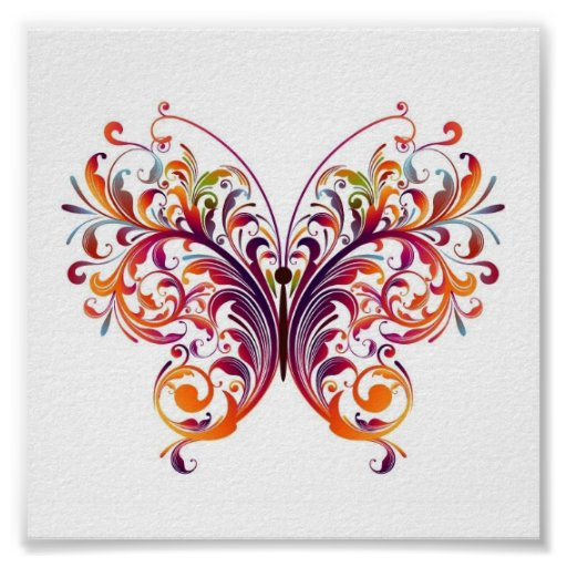 Mariposa floral poster