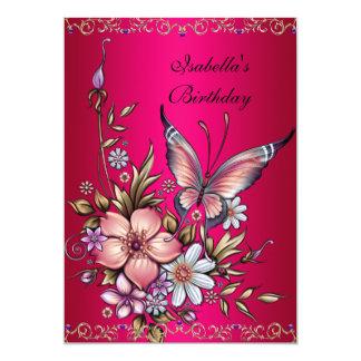 Mariposa floral rosada elegante de Fushia del Invitación 12,7 X 17,8 Cm