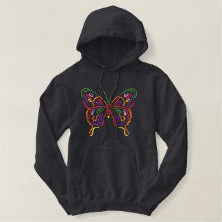 Mariposa grande sudadera bordada con capucha