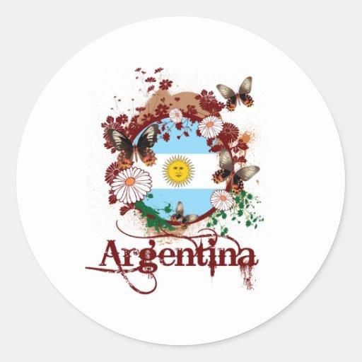 Mariposa la Argentina Pegatina Redonda