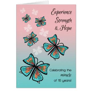 Mariposa limpia y sobria del milagro de 15 años tarjeta
