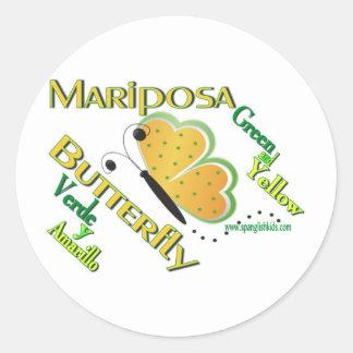 Mariposa/Mariposa-Pegatinas Etiqueta Redonda