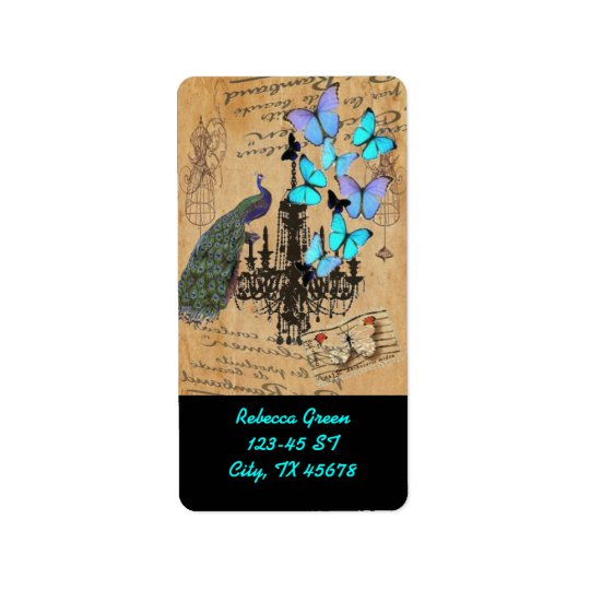 mariposa moderna del azul de pavo real del vintage etiquetas de dirección