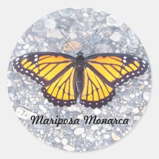 Mariposa Monarca Pegatina Redonda