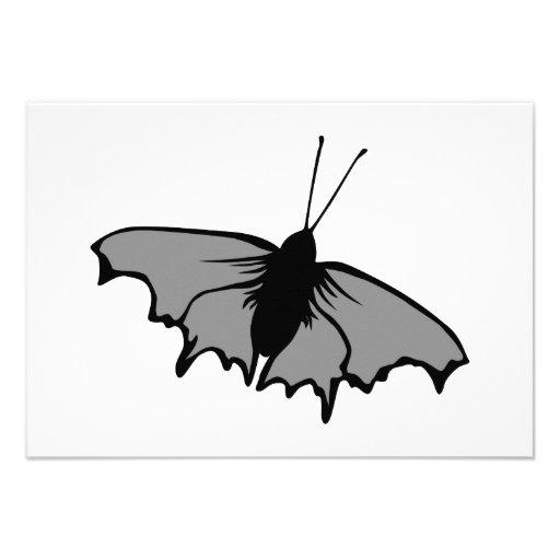 Mariposa monocromática invitaciones personalizada