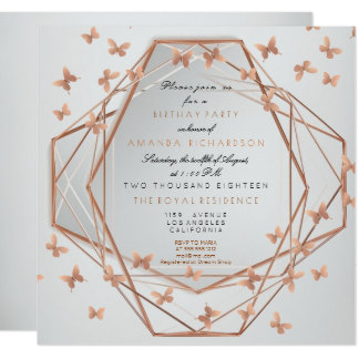 Mariposa nacarada de los gris plateados del fiesta invitación 13,3 cm x 13,3cm
