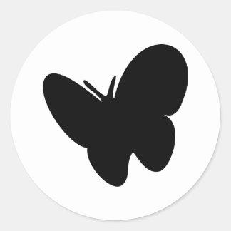 mariposa negra - mariposas pegatina redonda