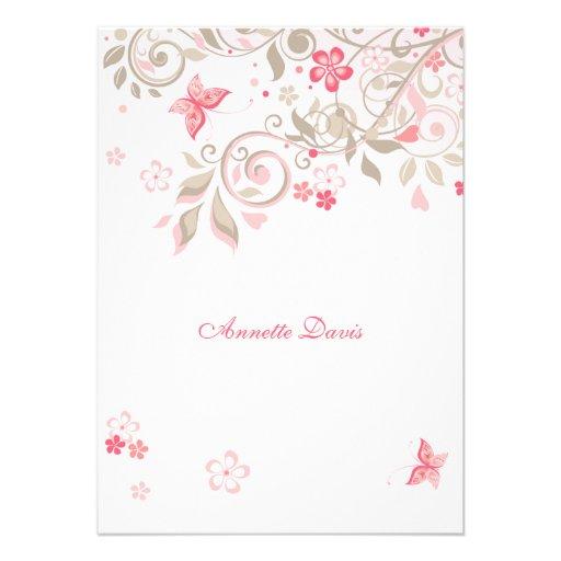 Mariposa Notecard personalizado prado Invitaciones Personales
