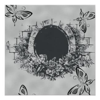 Mariposa Pasillo en la invitación blanco y negro Invitación 13,3 Cm X 13,3cm
