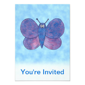 Mariposa púrpura invitación 12,7 x 17,8 cm