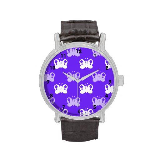 Mariposa púrpura y blanca azul violeta de las mari relojes de mano