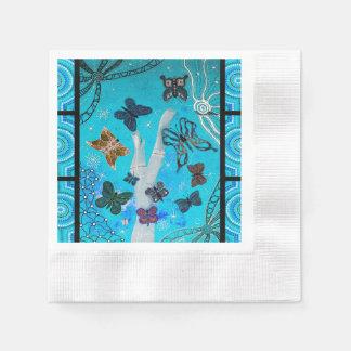 Mariposa que soña las servilletas de papel