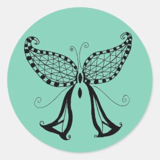 Mariposa quebrada pegatina redonda