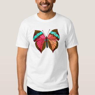 Mariposa rayada de la turquesa camiseta