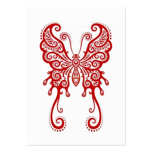 Mariposa roja compleja en blanco tarjeta de visita