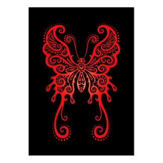 Mariposa roja compleja en negro plantillas de tarjeta de negocio