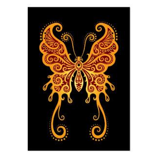 Mariposa roja de oro compleja en negro tarjetas de visita
