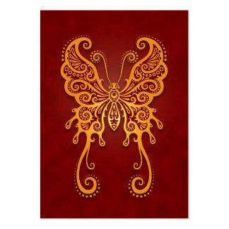 Mariposa roja de oro compleja tarjetas de visita grandes
