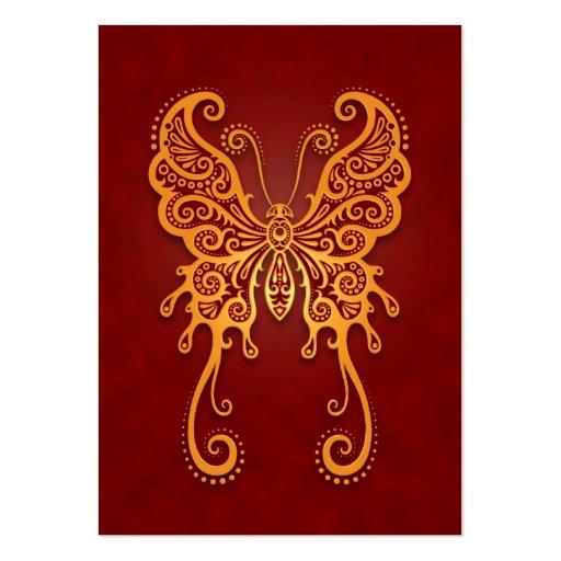 Mariposa roja de oro compleja tarjetas de visita